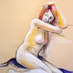 Riccardo Martinelli - Donna che guarda - Studio di nudo (crete colorate 50x70) 2012