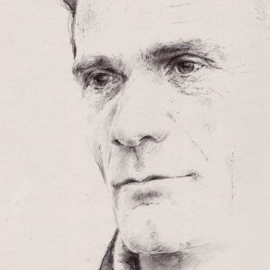 Riccardo Martinelli - Pier Paolo Pasolini-part-ballpoint pen on gray cardboard 21x29,7-2016