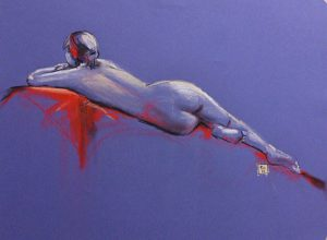 Riccardo Martinelli - blu and red - Studio di nudo femminile dal vero (crete colorate 70x50)2013