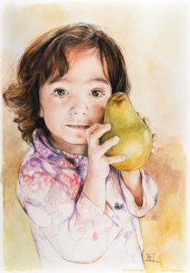 Miriam con la pera / Miriam with pear