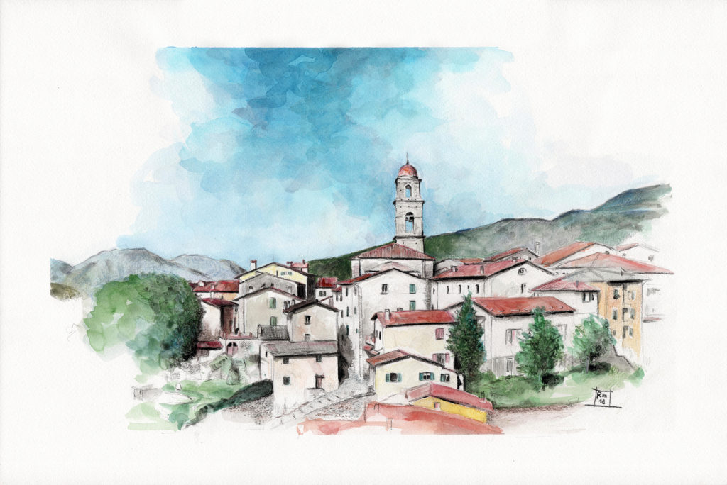 Veduta di San Marcello Pistoiese (Pistoia) (acquerello e matite su carta / watercolor and pencils on paper 45,5x30,5) Toscana / Tuscany.