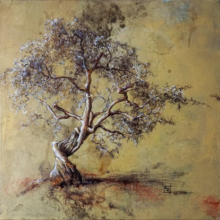 Riccardo Martinelli - Albero danzante - Dancing tree - mix media on canvas 50x50 (2018)