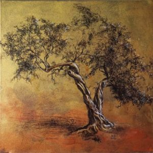 Riccardo Martinelli - Ulivo in preghiera - Praying olive tree - mix media on canvas 50x50 (2018)